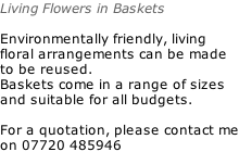 Living Flowers in Baskets  Environmentally friendly, living floral arrangements can be made to be reused. Baskets come in a range of sizes and suitable for all budgets.  For a quotation, please contact me on 07720 485946